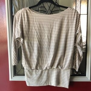 White And Tan Striped Top